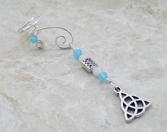 ON SALE Celtic Triquetra Ear Cuff Blue Opal, Gift for Her, Something Blue, Bridal Ear Cuff