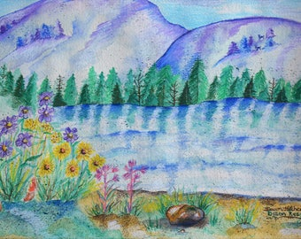 ORIGINAL Painting, Watercolor, Mountains, Colorado Landscape, Colorado Mountains, Frisco CO, Bold Colors, Water, Lake, Trees, Original Art