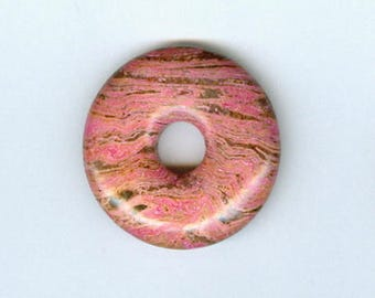 Pink Donut Focal, 32mm Pink and Brown Gemstone PI Donut Focal Pendant 5138S