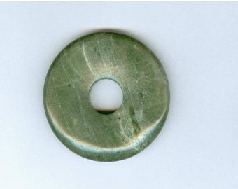 PI DAY SALE Green Jasper Pendant, 45mm Green Lined Jasper Gemstone Pi Donut Focal Pendant 0167