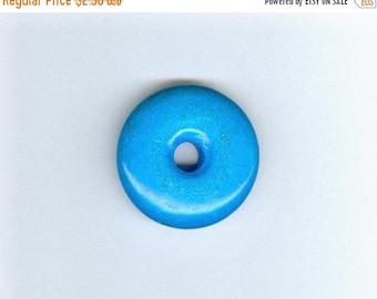 PI DAY SALE Blue Jade Donut, 32mm Dark Sky Blue Jade Gemstone Pi Donut Focal Pendant 1089B