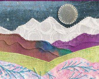 Romantic Night - Moon and Stars -  Fabric Postcard - Small Quilt - Quilt Art - Landscape Art - Purple Flowers - Mountain Landscape