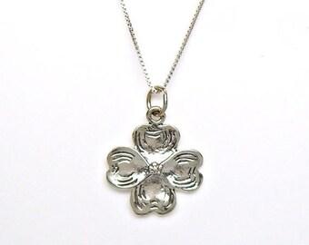 SALE Dogwood Flower Sterling Silver Charm Pendant Customize no. 1985