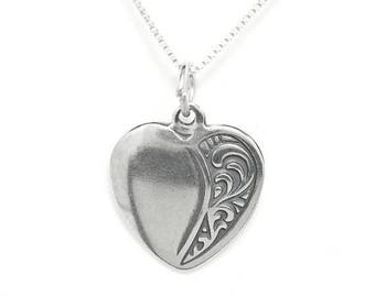 SALE Heart Sterling Silver Love Pendant Charm Customize no. 1880