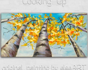 Sale Large art Landscape Painting  autumn aspen forest Looking Up Sky by tim lam 48x24x1.4
