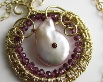 SUMMER SALE The Blushing Pink Rose Necklace - Pink Drop Pearl with Set Garnet, Garnet and Gold