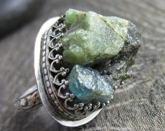 SUMMER SALE The Green Ring - Green Tourmaline and Blue Aquamarine Raw Chunks in Sterling Silver