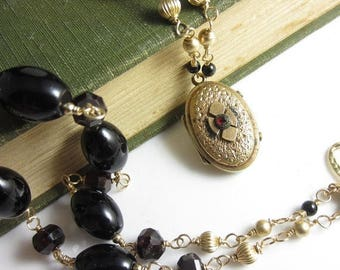 SUMMER SALE Victorian Gothic Necklace - Antique Gold Fill Locket on Hand Link Black Onyx and Garnet Chain