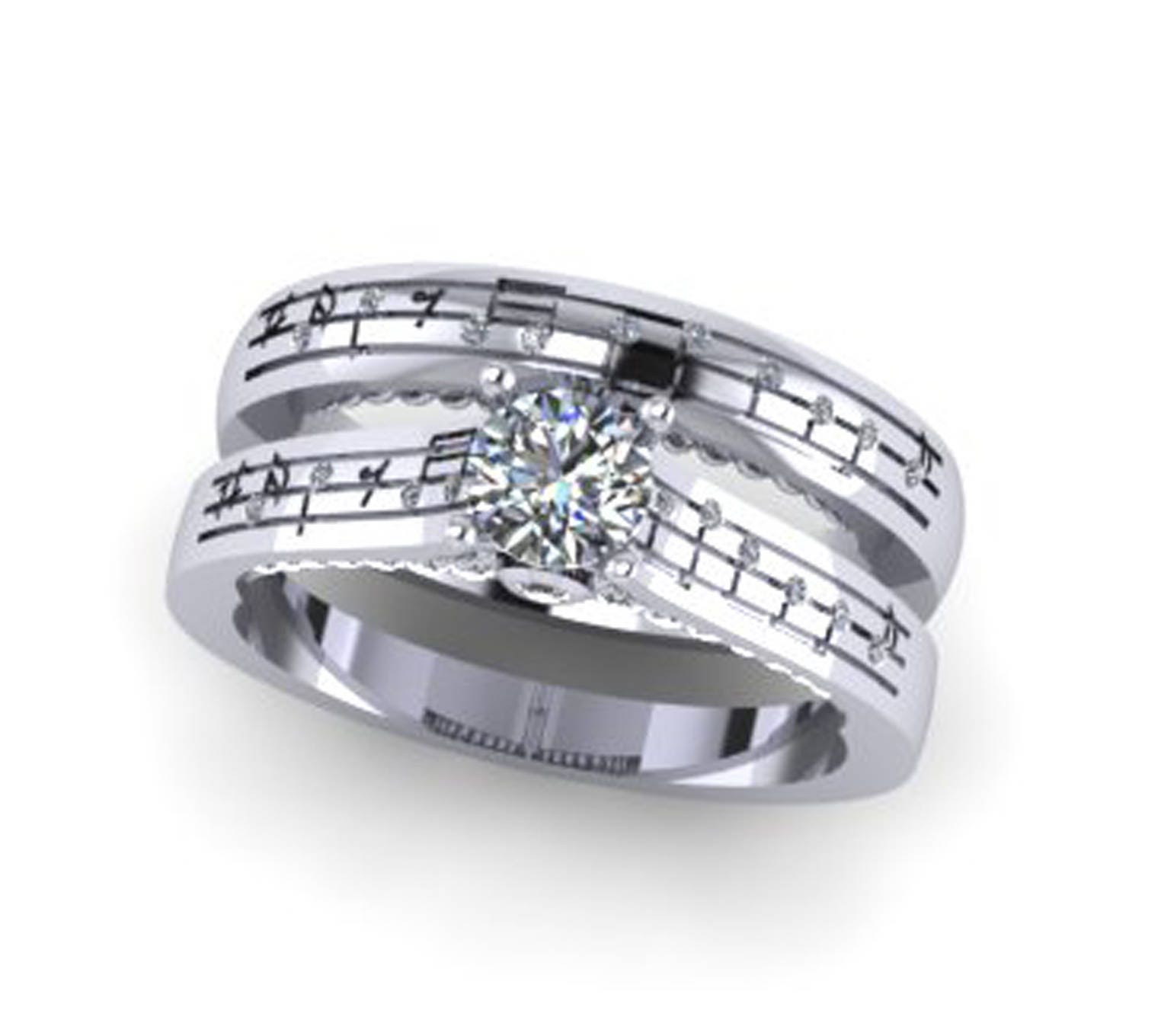 Diamond Music Note Ring Set Custom diamond notes White Gold