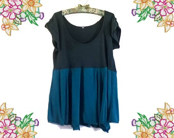 Tempting Teal. Plus Size Upcycled Dress / Tunic Top. Size large / extra large. Easy to wear Cotton Clothing.