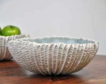 Gray and White Extra Large Serving Bowl  - Large Ceramic Serving Bowl fruit bowl Handmade Pottery
