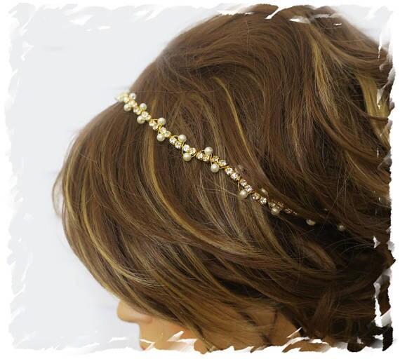 thin gold headband with rhinestone and pearls, wedding hair accessory