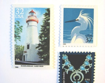 Vintage Nautical Postage Stamps, Lighthouse - Snowy Egret - Turquoise Stamps, Mail 20 Wedding Invitations 71 cents postage 2 oz, 2018 rate