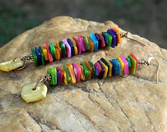Multi Color Helshi Shell Bead Boho Earrings