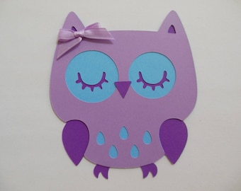 Owl Cutout - Lavender, Blue and Purple - Birthday Party Decoration - Baby Shower Decorations - Set of 1