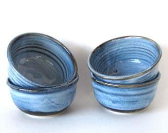 Ice Cream Bowl Set of Four - Pacifica Blue Glaze