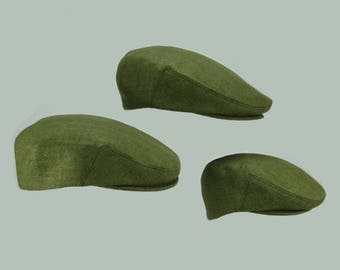 Matching  Moss Green Raw Silk Matka Hats - Summer Linen-Cotton Original Print Flat Jeff Cap, Baby, Toddler, Boy, Men
