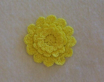 Crocheted 3-layer Lemon Yellow Mum Flower Sewing Applique Quilting Scrapbooking