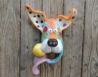 Large Dog Mask with Ball Ceramic Wall Hanging  Handmade by Dottie Dracos, Dog Mask, Ceramic Dog, Dog Face with Ball, Dog Mask, 617174