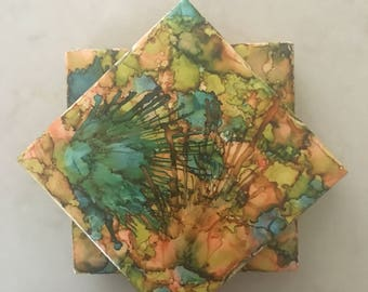 Colorful Alcohol Ink Tile Coasters Set of Four Handpainted Peach Green Turquoise and Brown