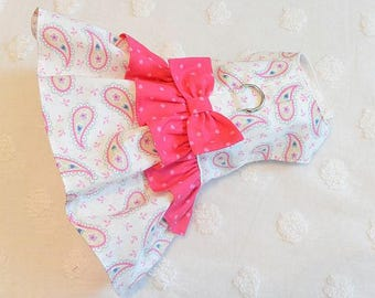 Dog Harness Dress Pink and Green Paisley Pink Dots
