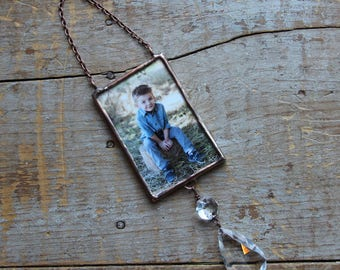 Custom Photo Ornament with Crystal Chandelier Drop, Photo Ornament, Picture Ornament, Memorial Photo Ornament
