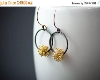 ON SALE 14k Gold and Black Silver Hoop Dangle Earring, Oxidized Silver Earrings, Gold Ball Earrings, Edgy Jewelry