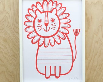 Red Lion Screen Print by Jane Foster  - hand printed signed