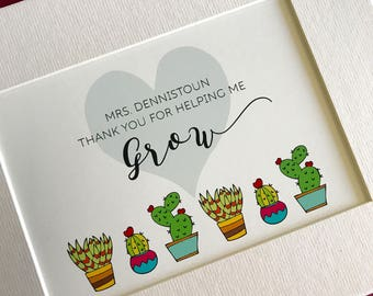 Thank You for Helping Me Grow... personalized teacher print