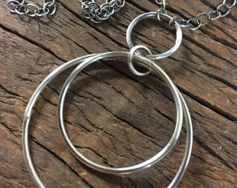 Triple Rings Sacred Circles Adjustable 16 - 18 Inch Necklace