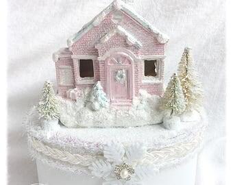 PINK/white Box Diorama Christmas Church House Shabby Chic svfteam ECS