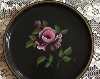 Vintage Metal Black TOLE Tray Hand Painted Shabby Chic Pink Floral Roses ECS
