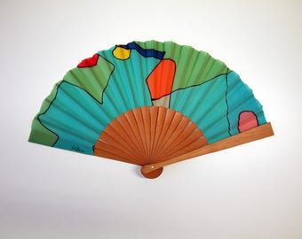 Handpainted Silk hand fan- Wedding hand fan-Abanico- Giveaways-Bridesmaids- Spanish hand fan-Green-Blue 14 x 7.5 inches (35 cm x 19 cm)
