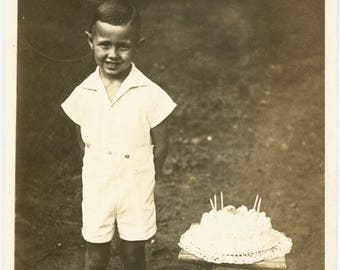 Vintage photo 1930s Little Sweetheart Boy Birthday CAke RPPC