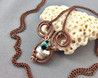 lampwork snake bead pendant, hammered copper, whimsical worm necklace, snake eyes, white glass, artisan lampwork, turquoise eyes, worm bead