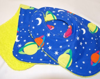Baby Boy Bib and Burp Cloth, Baby Shower Gift, Welcome Baby Gift, New Mom Gift: Planets and Stars on Blue