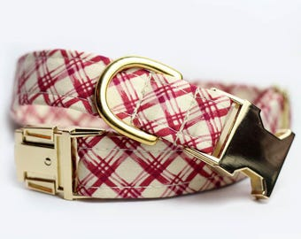 Brass Plaid Dog Collar, Personalized collar optional - Basket Weave
