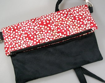 Handbag, woman bag, pouch, foldover bag in red and white cotton, and black suede