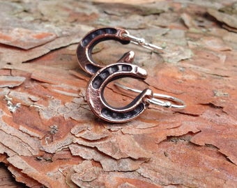 Horseshoe Earrings, Copper Horse Shoes on Sterling Silver ear wires, Rustic Horse Jewelry, Horse Lover Gift