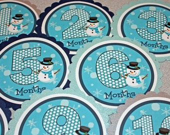 WINTER SNOWMAN Baby's 1st Year Tags / Snowman 1st Year Tags / Snowman First Year Tags /  Boy Snowman Photo Tags / Monthly Photo Tags