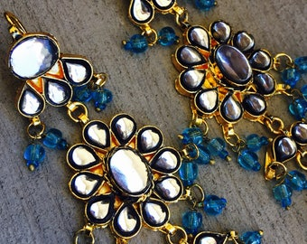 Kundan long handing indian earrings