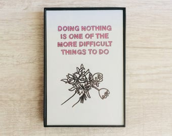 Doing Nothing, 4x6 inch print, ink & crayon, Basic Forms, chance operations, art, drawing, minimalist, flowers, hands