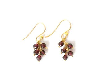 Garnet Cluster Earrings/14K Gold Fill Earwires/January Birthstone/Handmade Jewelry