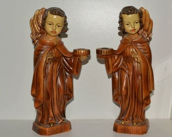 Vintage Catholic Religious Home Decor Angel Candle holders candlesticks