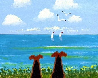 Airedale Welsh Terrier seascape folk art PRINT of Todd Young painting TOGETHER