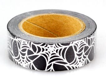 Spider Web Washi Tape, Black and Silver Spiderweb Washi Tape, Halloween Washi Tape, Silver Foil Spiderweb Washi Tape