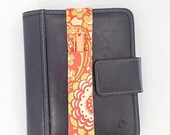 Orange Floral Print Theme Pretty Pen Pocket Planner Band Pen Holder