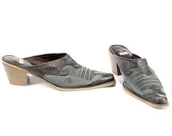 size 9.5 Western Mules Grey 90s Clog Canvas Sandals Slip On Wide Fit Shoes Cuban Heel Slingback Shoes Heels . Eur 40.5  US 9.5 - 10  UK 7.5