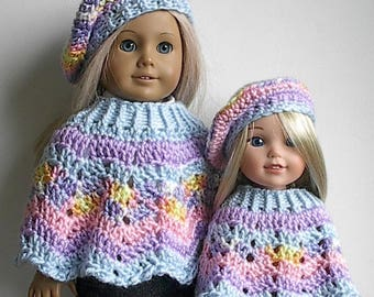 "Pastel Striped Poncho and Beret Set in Blue Lavender Pink and Multicolor Handmade to fit 14""  Wellie Wishers and and 18"" American Girl Dolls"