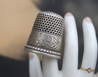 Antique Thimble Sterling Silver Size 10